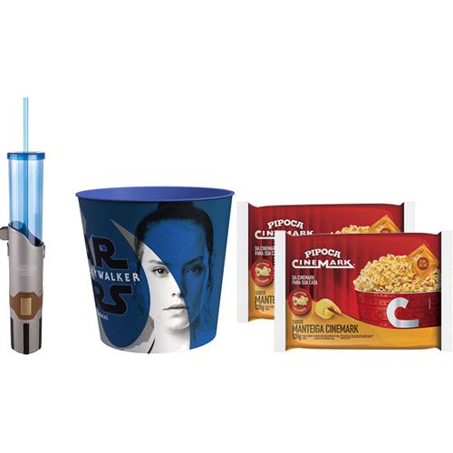 Combo 2 Pipocas para Micro-ondas Sabor Manteiga 120g Cinemark + Kit Star Wars Jedi