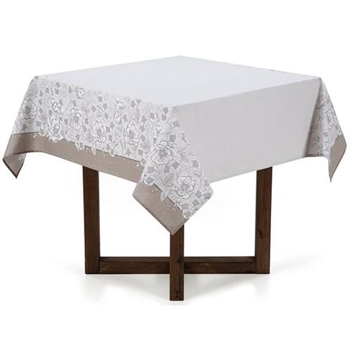 Toalha de Mesa Limpa Fácil Marguerite Quadrada p/ Mesas de 04 Lugares 140cm X 140cm - Karsten