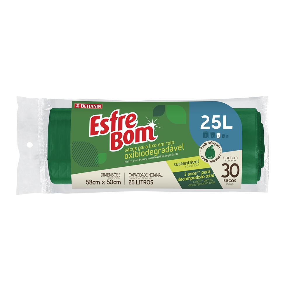 Rolo de Sacos para Lixo Bio EsfreBom Verde 25L - Bettanin