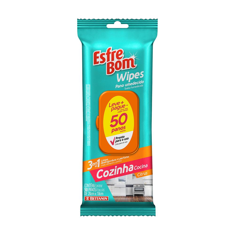 Wipes Panos Umedecidos Cozinha Citrus EsfreBom 50un - Bettanin