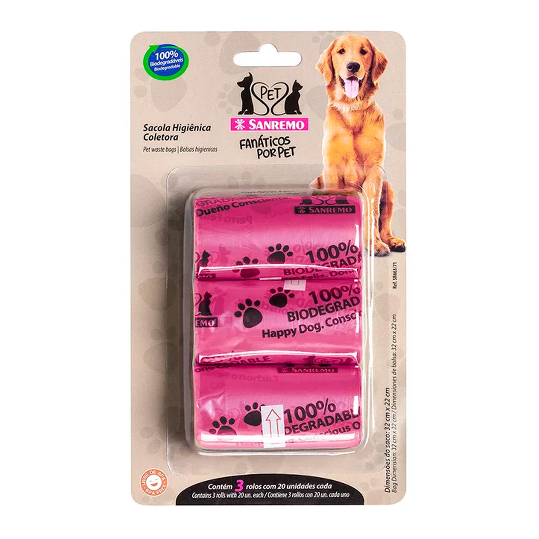 Conjunto de Sacolas Higiênicas Coletoras Pet Rosas 4L - Sanremo