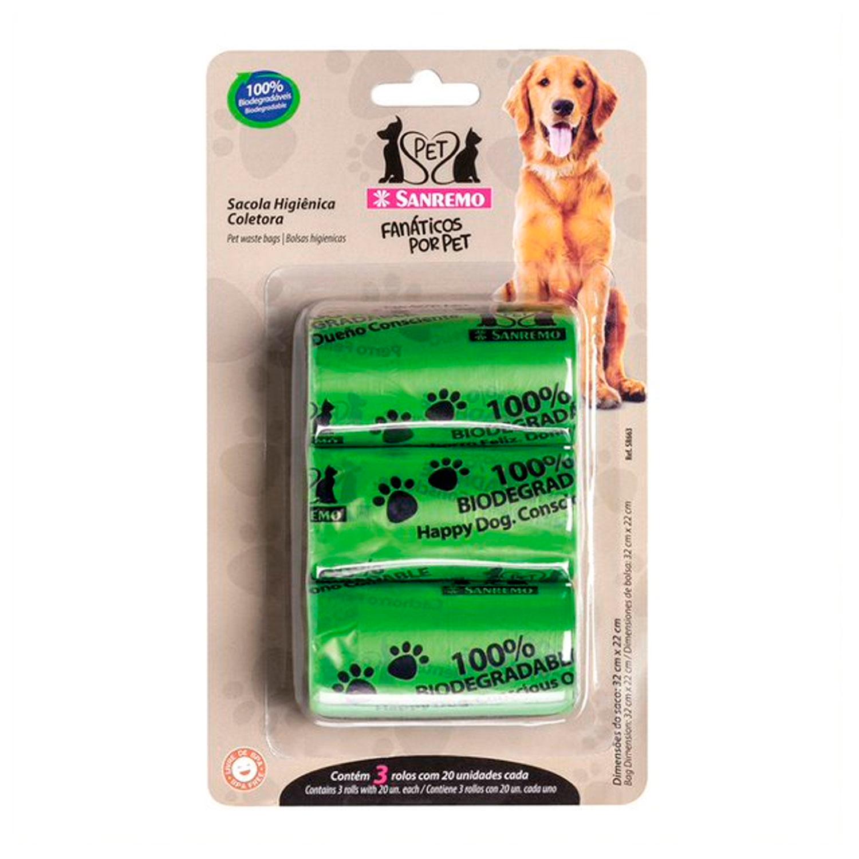 Conjunto de Sacolas Higiênicas Coletoras Pet Verde 4L - Sanremo