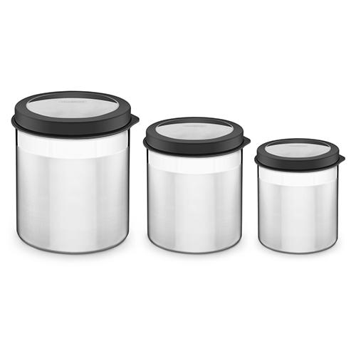 Conjunto de Potes em Aço Inox c/ Tampa Plástica Preta com Visor Cucina 3pçs - Tramontina