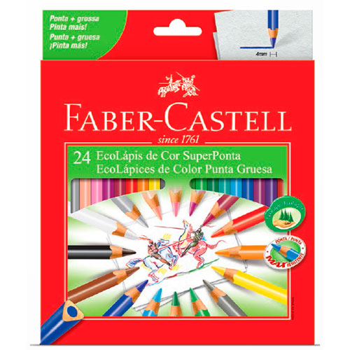 Lápis de Cor 24 Cores Super Ponta - Faber-Castell