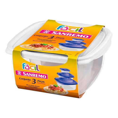 Conjunto 3 Potes Quadrados Fácil - Sanremo