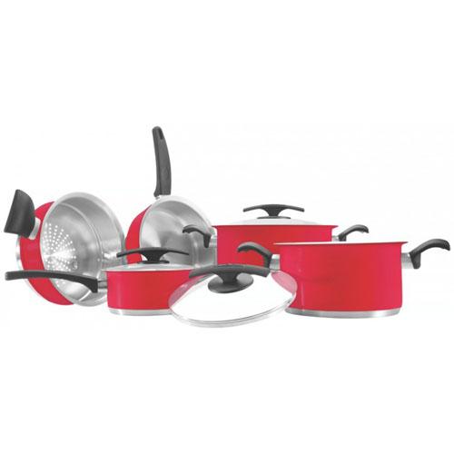 Jogo de Panelas Aço Inox Duo Color Vermelho  5pçs - Tramontina