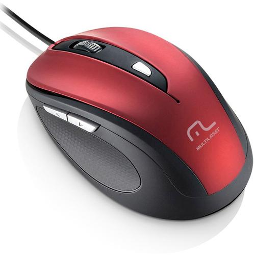Mouse com Fio Comfort USB 6 Botões Vermelho - Multilaser