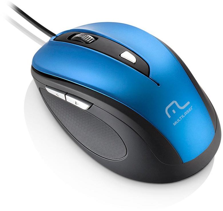 Mouse com Fio Comfort USB 6 Botões Azul - Multilaser