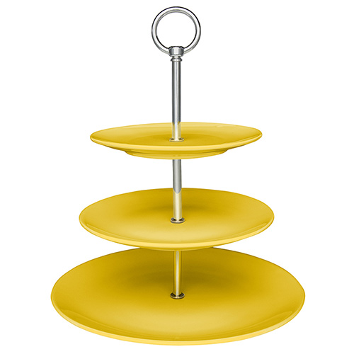 Fruteira/Porta Doces e Salgados de Porcelana Coup Amarela - Oxford