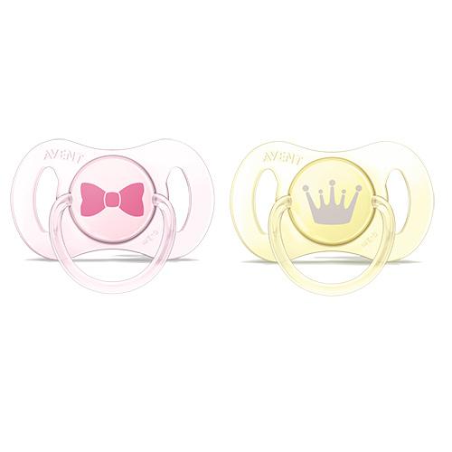 Double Pack Mini Chupeta 0 a 2 Meses Rosa e Amarela - Philips Avent